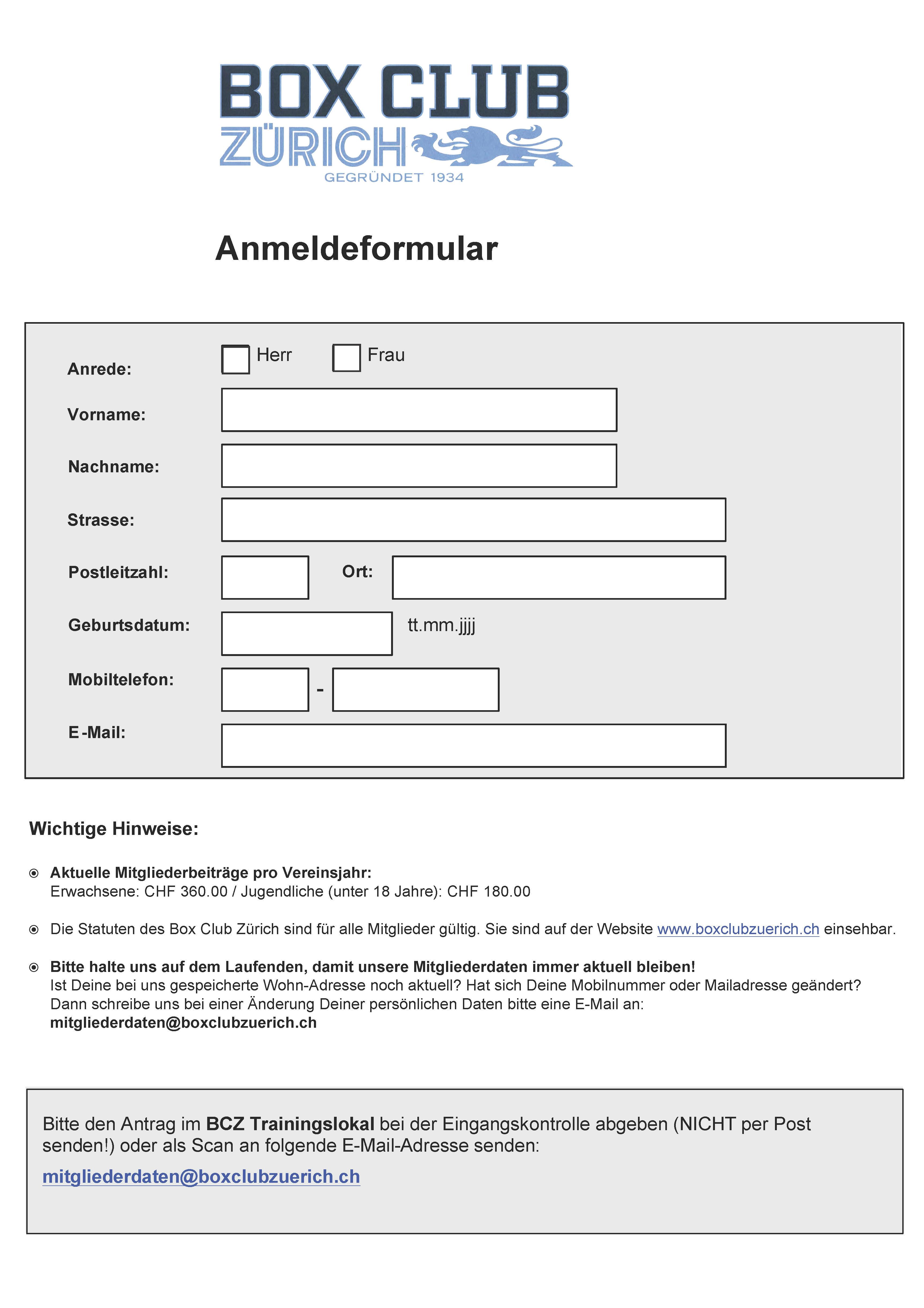 Box Club Zürich » ANMELDEFORMULAR